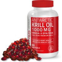 Bronson Antarctic Krill Oil 1000 mg Omega 3 Fatty Acids Supplement with EPA, DHA, Astaxanthin and Phospholipids  100% Pure Heavy Metal Tested, Non GMO Gluten Free Soy Free - 60 Softgels