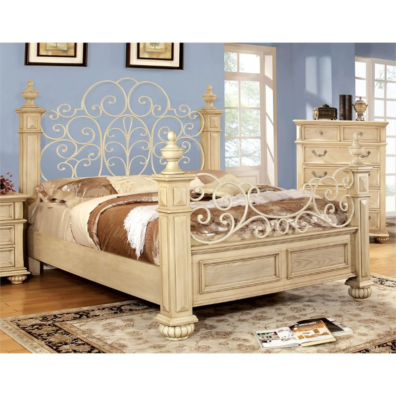 Furniture of America Thayer King Poster Bed in Antique White by Furniture of America