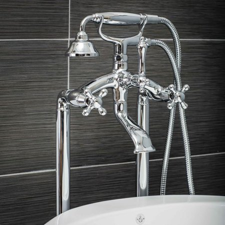 Balance Shower Set Cross Handle (Pelham & White Luxury Clawfoot Tub or Freestanding Tub Filler Faucet, Vintage Design with Telephone Style Hand Shower, Floor Mount Installation, Cross Handles, Polished Chrome Finish)