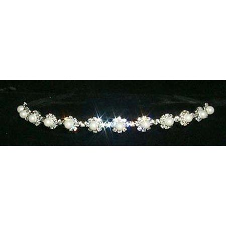 #8927 Pearl and rhinestone rosette headband