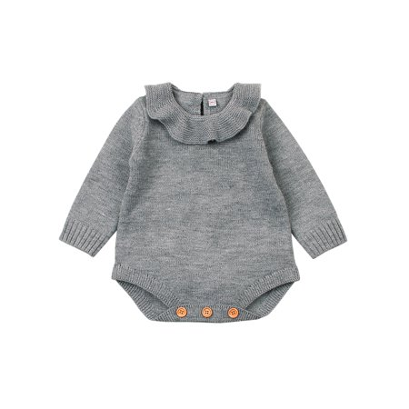 1e3a06b7793a Baby Boys Girls Solid Color Sweater Romper Jumpsuit Toddler Knit Outfits  Clothes - Walmart.com