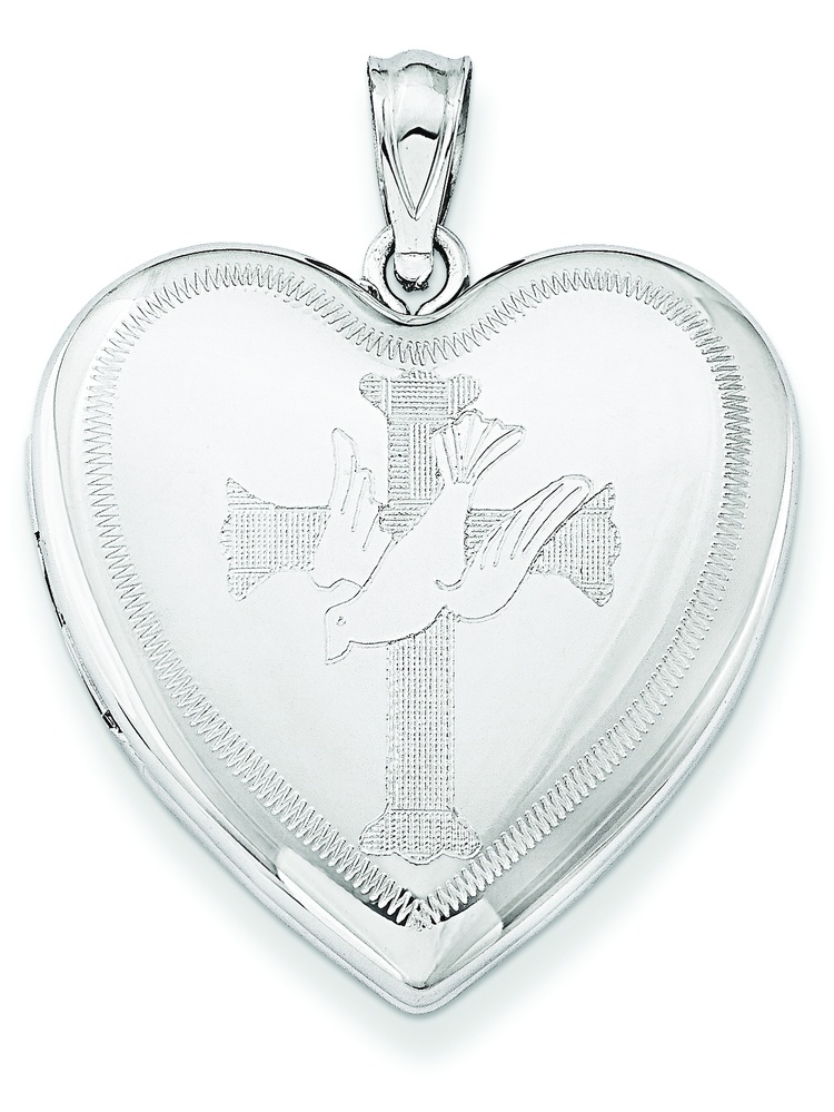 Sterling Silver Rhodium-plated Dove with Cross Heart Locket by Kevin Jewelers