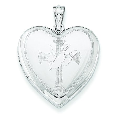 Sterling Silver Rhodium-plated Dove with Cross Heart Locket QLS634 (4.95 grams | 24MM x 24MM) - Lockets With Charms