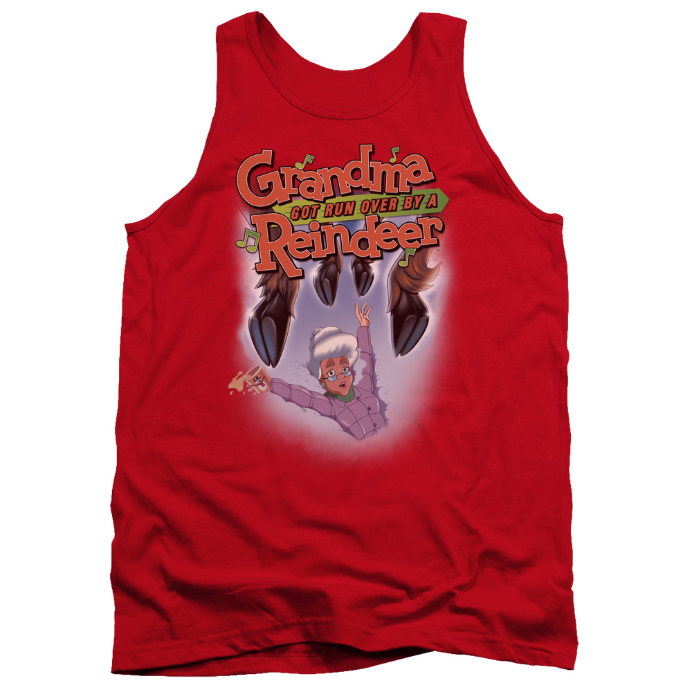 Grandma Got Run Over By A Reindeer Hooves Mens Tank Top Shirt