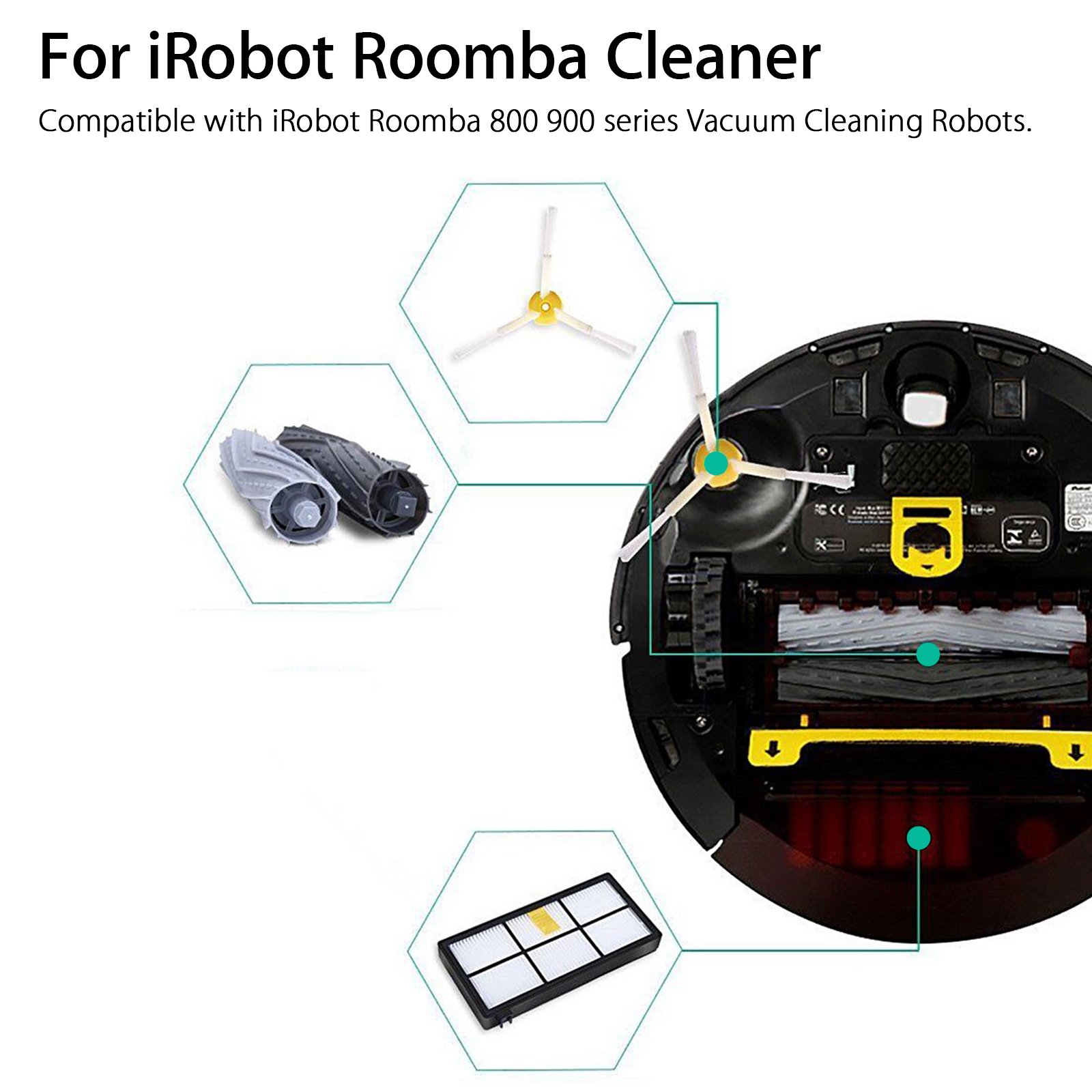 Buy 4 Side Brushes 4 Filters 4 Extractors Hepa Filter kit for Roomba