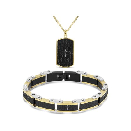 Cubic Zirconia 316L Stainless Steel Black and Gold Ion Plating Cross Carbon Fiber Dogtag Pendant, 24