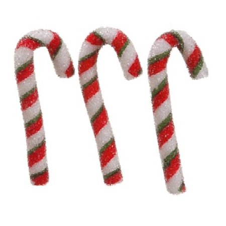 Pack of 3 Peppermint Twist Sugared Candy Cane Christmas Ornaments 5.5