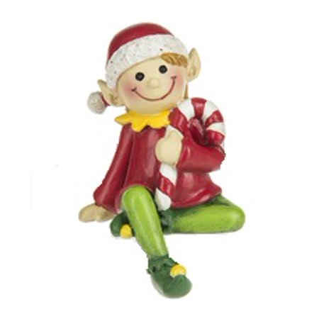 Christmas Fantasy Elf Shelf Sitter With Red Coat and Green Pants - By Ganz](Green Elf Off The Shelf)