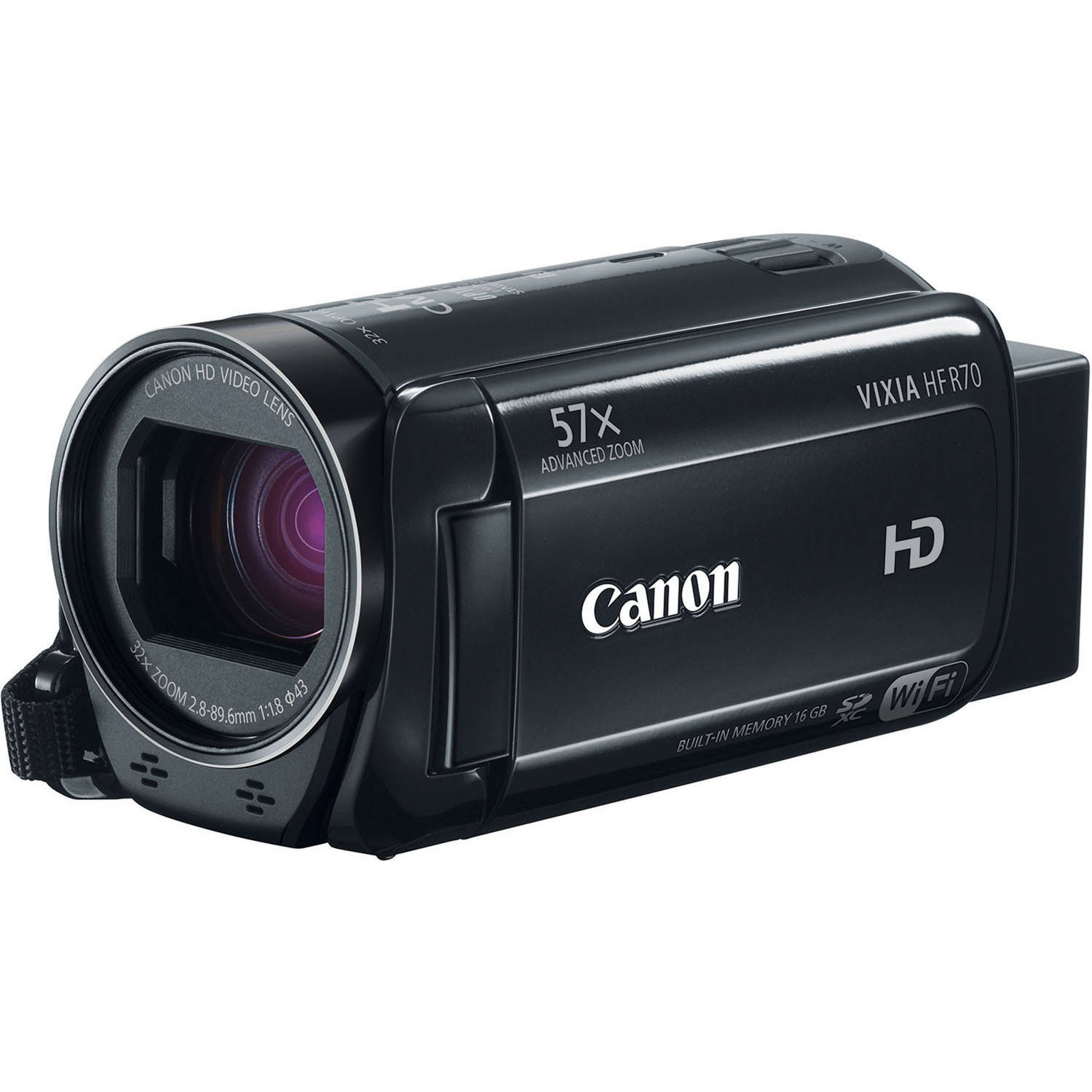 "Canon VIXIA HF R70 Black Camcorder with 32x Optical Zoom, 3"" LCD and Image Stabilization"