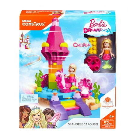 Mega Construx Barbie Dreamtopia Seahorse Carousel & Mermaid Chelsea](Mermaid Toy)