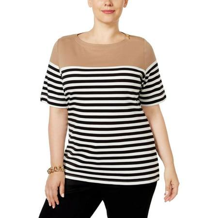 Karen Scott Womens Plus Striped Short Sleeves Casual Top