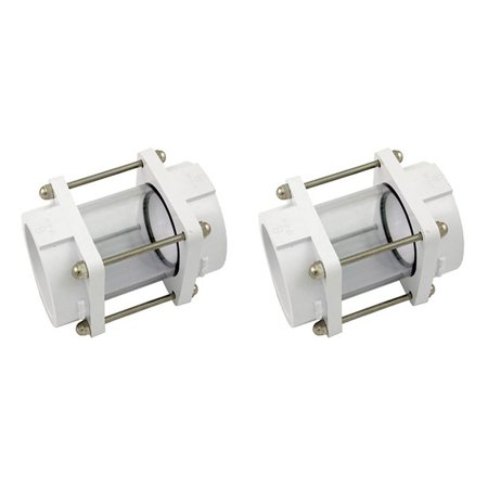 Hayward 2 Inch Socket In Line Slip Sight VariFlo Glass Replacement (2 Pack)