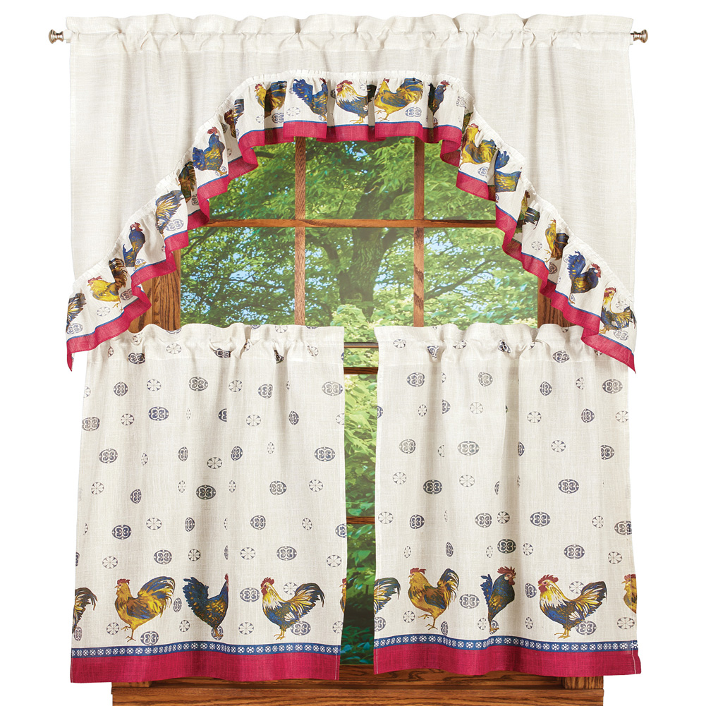 Rooster Complete 36 Inch Kitchen Curtain Set By United