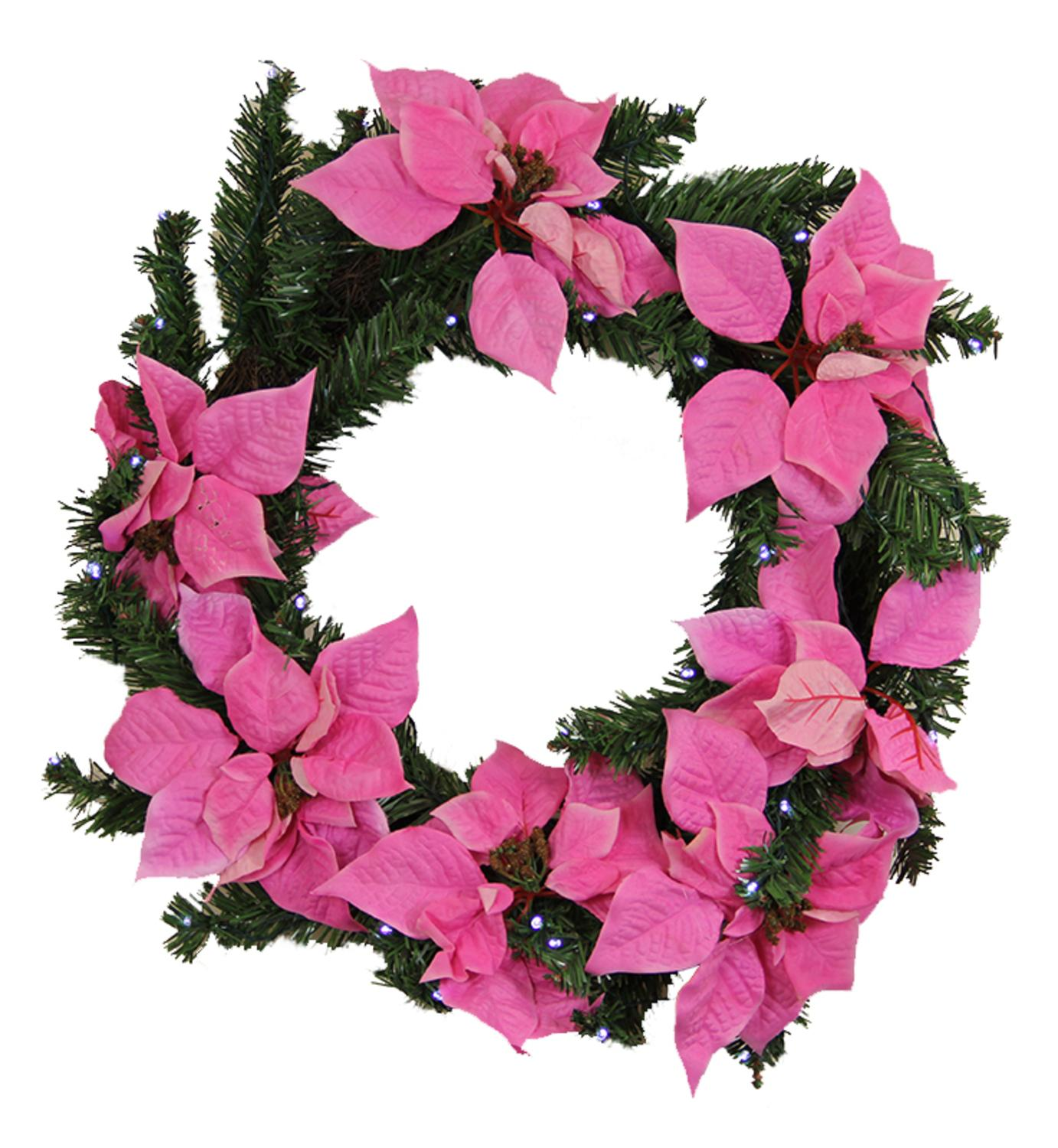 "22"" Pre-Lit Pink Artificial Poinsettia Christmas Wreath - Clear LED Lights"