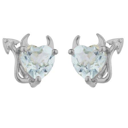 Aquamarine & Diamond Devil Heart Stud Earrings .925 Sterling Silver
