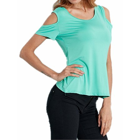 Women Tops Clearance Sexy Backless Short Sleeve Cold Shoulder Blouse