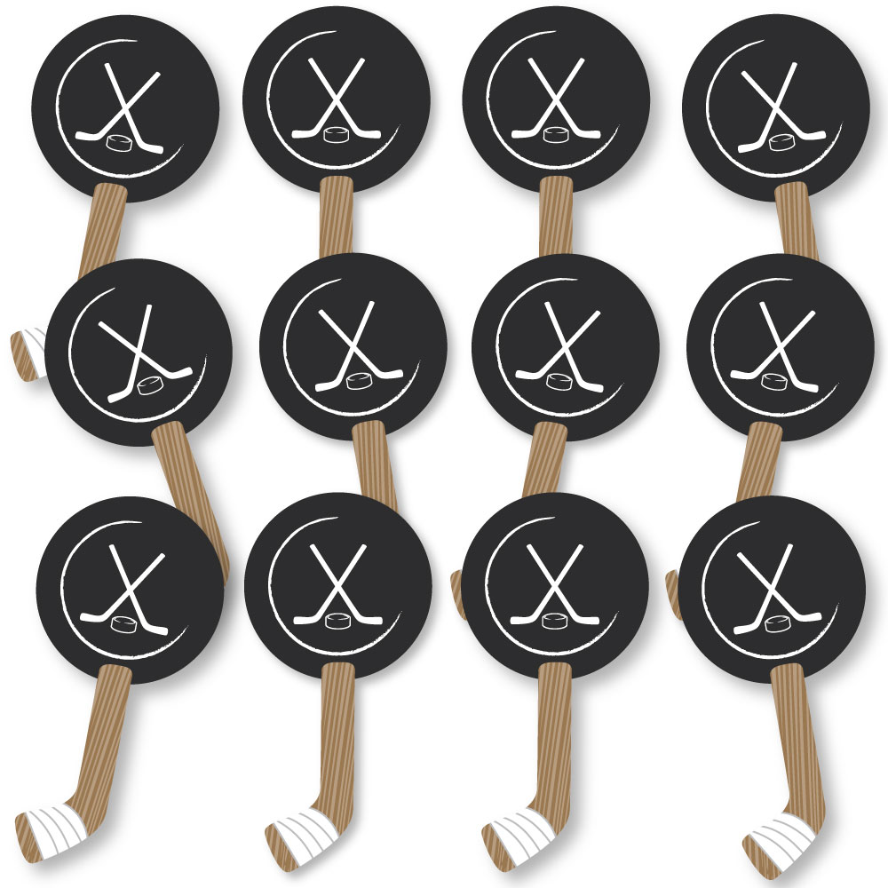 Shoots & Scores! Hockey Spirit Cheer Gear Fan Sports Swag Paddles Set of 12 by Big Dot of Happiness, LLC