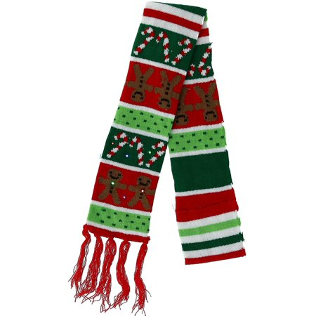 Novelty Flashing Lights Holiday Scarf (Scary For Adults)