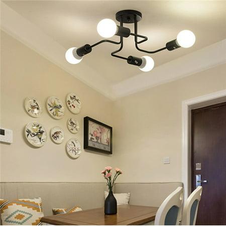 E27 Vintage Industrial Edison 4 Lights Barn Metal Flush Mount Ceiling Lights Home Coffee Bar LED Lighting Lamp 110V-240V