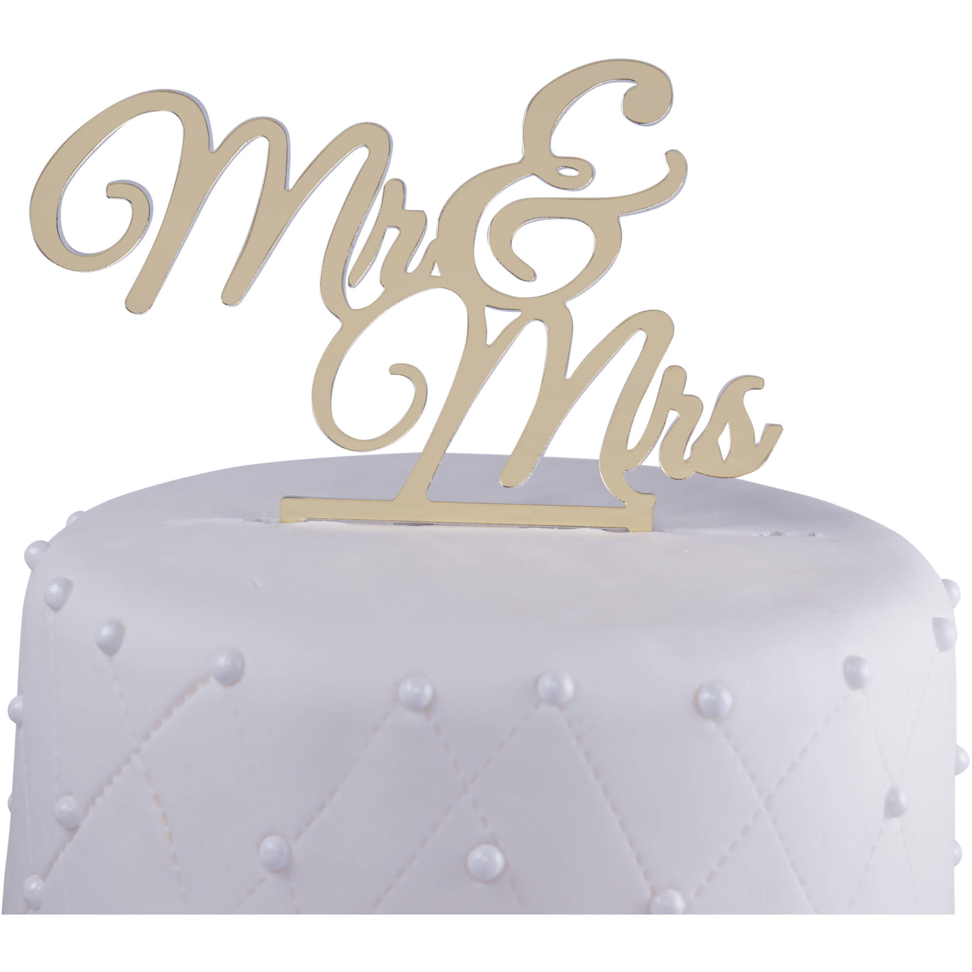 "Unik Occasions ""Mr. and Mrs."" Acrylic Wedding Cake Topper New, Gold Mirror"