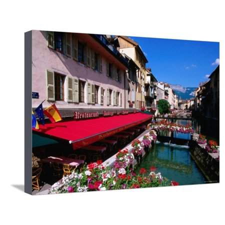 Thiou River Running through Town Centre, Annecy, Rhone-Alpes, France Stretched Canvas Print Wall Art By John Elk III