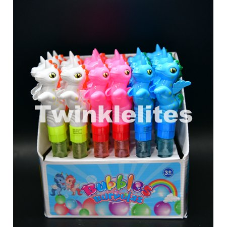 Unicorn Favors Bubble Tubes Magical Birthday Party Fun Activity Toy Bubbles 24pc (Bubble Tubes)