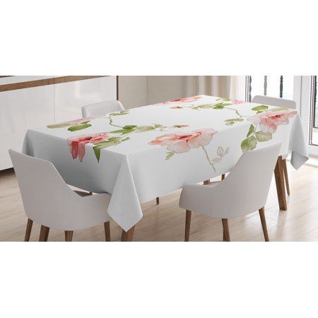 Floral Tablecloth, Romantic Rose Flower Petals Shabby Chic Kitsch Love Blooms Design, Rectangular Table Cover for Dining Room Kitchen, 60 X 90 Inches, Reseda Green Peach Coral, by Ambesonne
