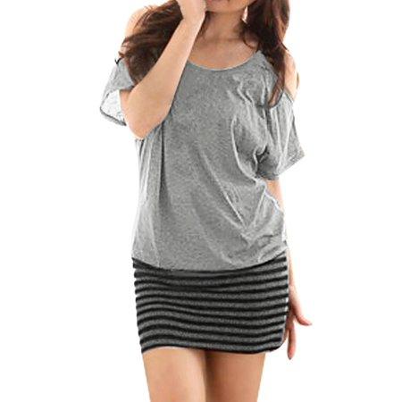 Ladies Cut out Shoulder Short Bat Sleeve Striped Hem Mini Dress Gray XS (Bat Cut Outs)