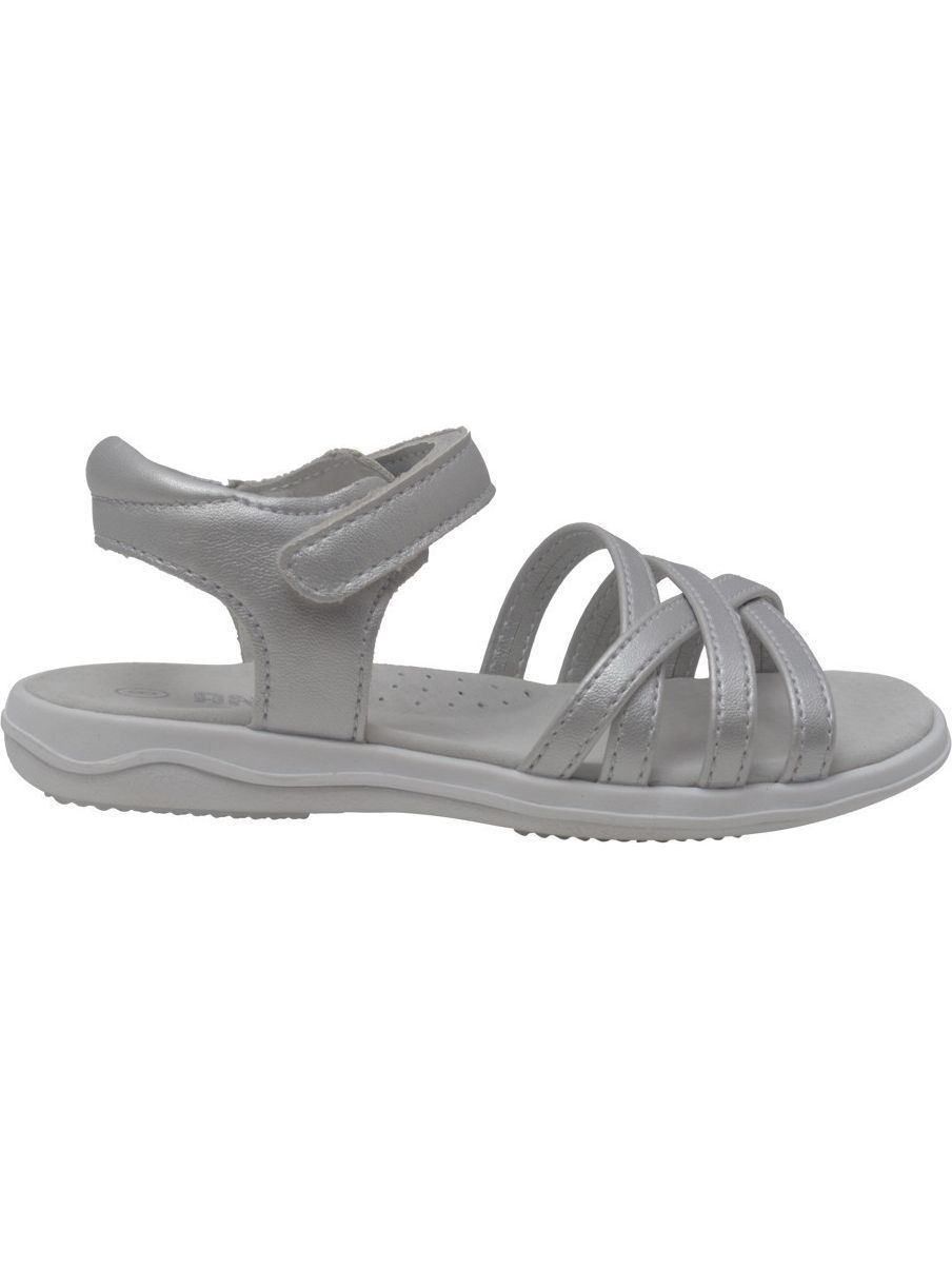 Angel Girls Silver Criss Cross Strap Closure Leather Sandals 4-10 Toddler