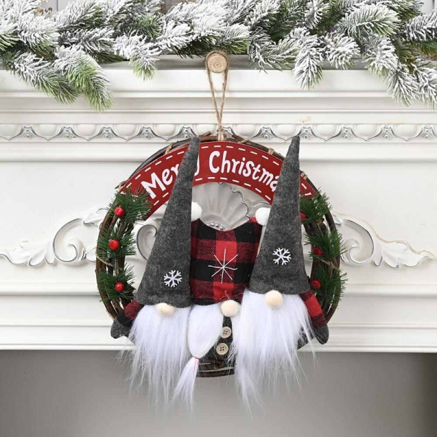 Christmas Rattan Ring Wreath Garland Wood White DIY Wedding Xmas Party Decor US
