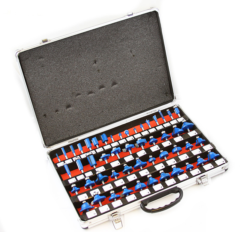 "1/4"" Shank Tungsten Carbide-Tipped Woodworking Router Bits Tool Set with Case, 50PC"