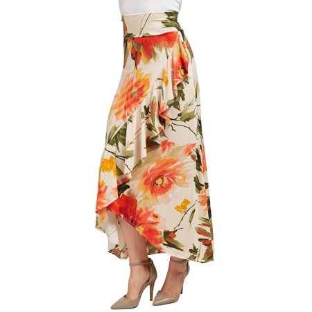 - WB1353 Womens Print Wrapped High Low Ruffle Maxi Skirt XXL CORAL_OLIVE