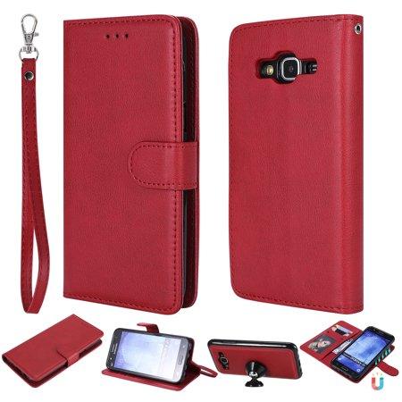 Galaxy S5 Case Wallet, S5 Case, Allytech Premium Leather Flip Case Cover & Card Slots Pocket, Wrist Design Detachable Slim Case for Samsung Galaxy S5 G900A (Red) (Samsung S5 Otter Box Wallet Case)