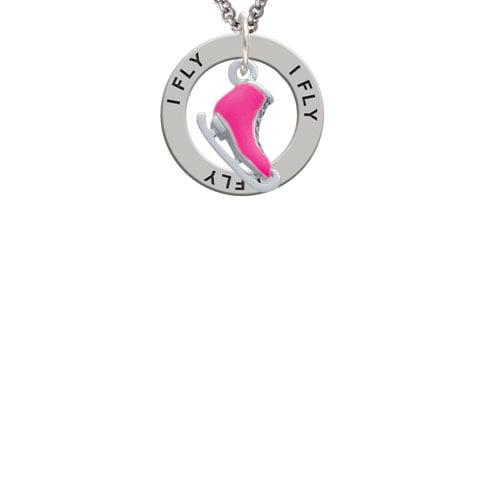 3-D Hot Pink Ice Skate I Fly Affirmation Ring Necklace