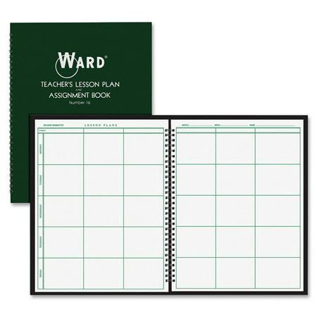 Lesson Planbook (Ward, HUB16, Teacher's 6-period Lesson Plan Book, 1 Each, White,Dark)