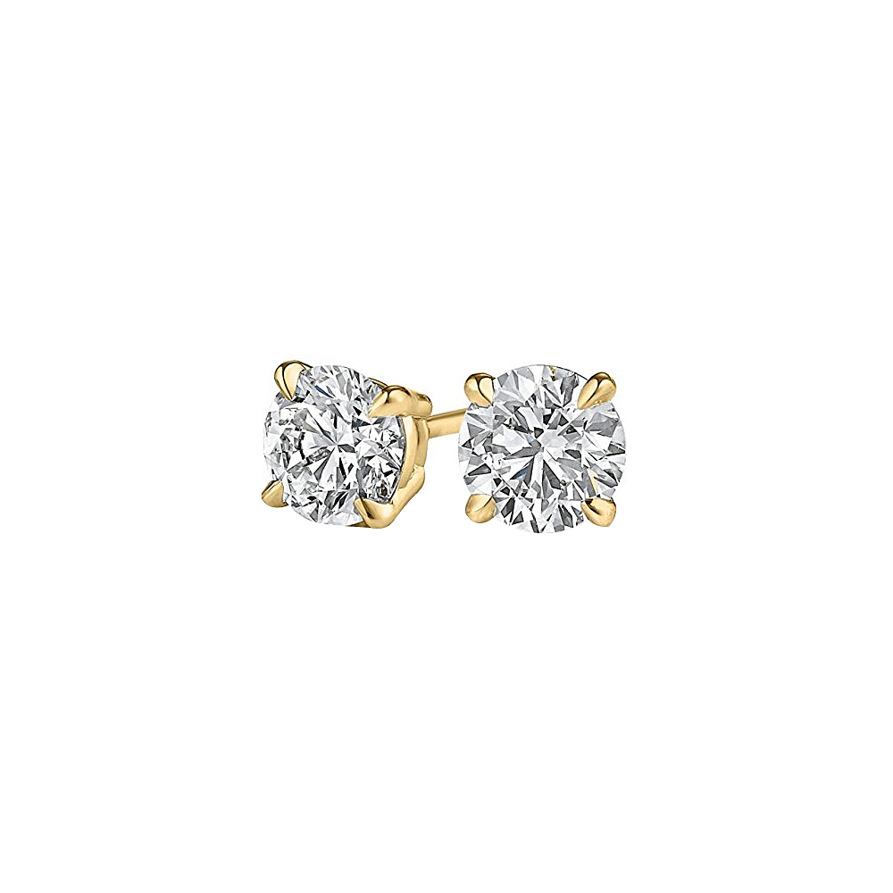 4 Prong Set Natural Diamond Stud Earrings Yellow Gold - image 2 of 2