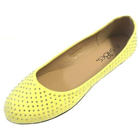 32d6cdeeb0ad3d Shoes8teen - Womens Faux Suede Rhinestone Ballerina Ballet Flats ...
