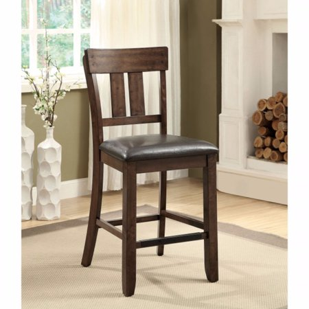 Transitional Counter Height Chair, Rustic Oak, Set Of 2
