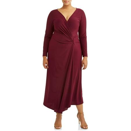 Women\'s Plus Size Long Sleeve Surplice Maxi Dress with Embellishment