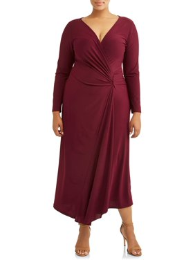 176f3a9f9d Product Image Women s Plus Size Long Sleeve Surplice Maxi Dress with  Embellishment