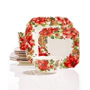 222 Fifth Winter Poinsettia 12 Pc. Dinnerware Set