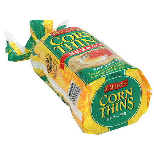 Real Foods Corn Thins Sesame Popped Corn Cakes, 5.3 oz, (Pack of 6)