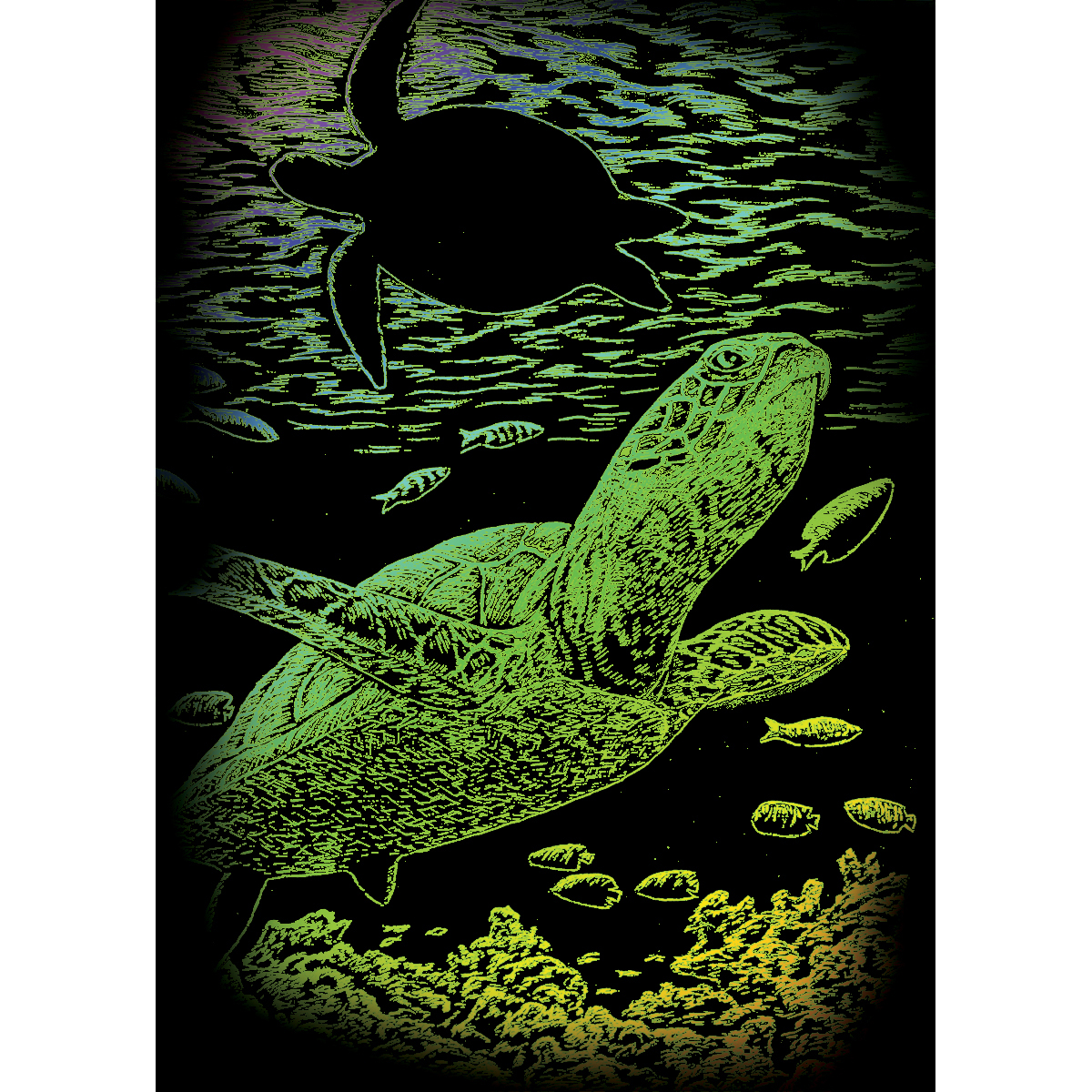 "Rainbow Foil Engraving Art Mini Kit 5""X7""-Undersea Turtle"