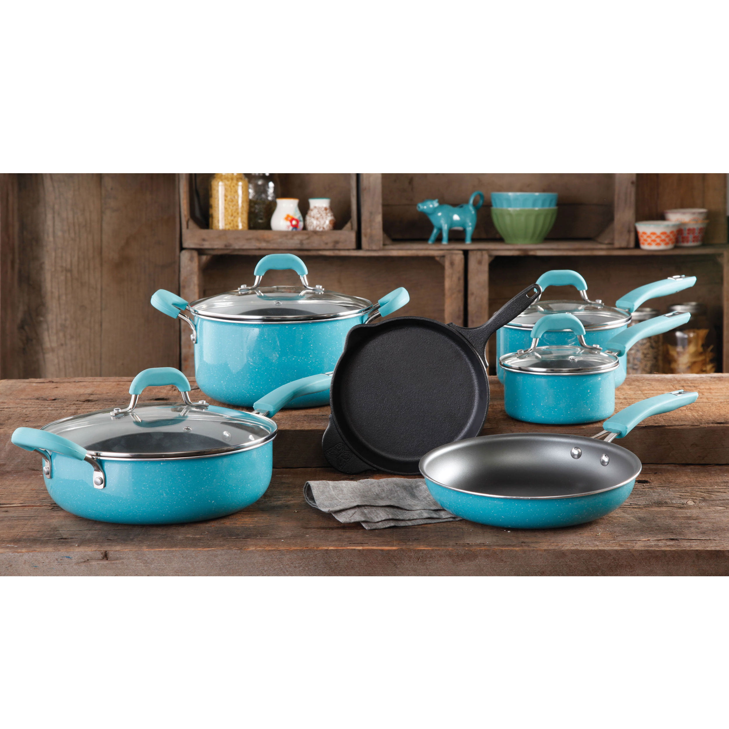The Pioneer Woman Vintage Speckle 10 Piece Non-Stick Pre-Seasoned Cookware Set by Gibson Oversea Inc.