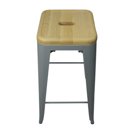 Tolix Style Bar Stool Silver - Natural Wooden Seat - Reproduction - image 1 de 3