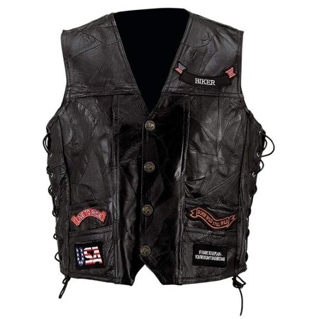 Biker Vest Lace-Up Buffalo Leather Motorcycle USA Flag Eagle w/ 14 Patches (S)