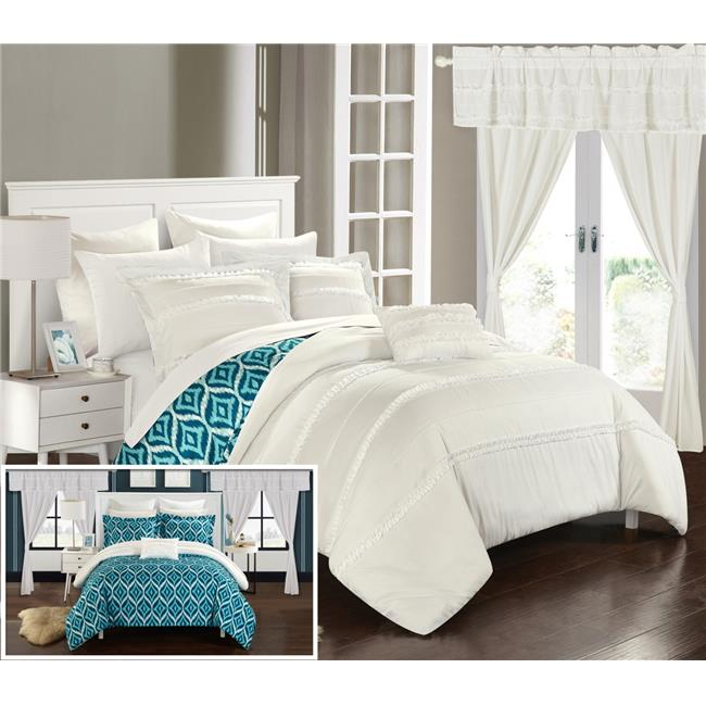 Chic Home CS40US Pinch Pleated Design Reversible Geometric Best White Bedding With Decorative Pillows