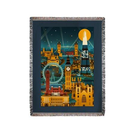 London, England - Retro Skyline (no text) - Lantern Press Artwork (60x80 Woven Chenille Yarn (Retro London)