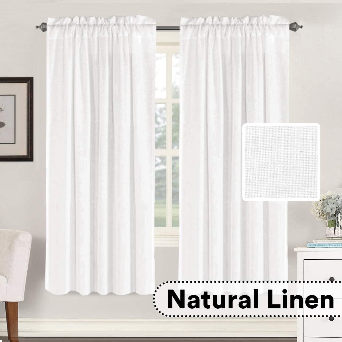 Linen Curtains Elegant Natural Linen Blended Curtains Energy Efficient Light Filtering Rod Pocket Window Treatments Panels Drapes For Livingroom Set Of 2 Pure White 52 X 72 Walmart Com Walmart Com