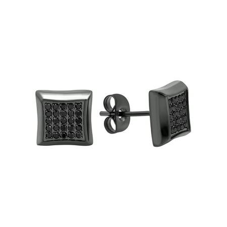 Men's Stainless Steel Gunmetal Stud Earrings w/ 1/4cttw. Black Diamonds - Gunmetal Dome Studs